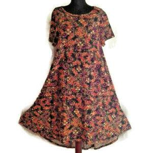 Lularoe Carly dress flowers hi-low hem pocket